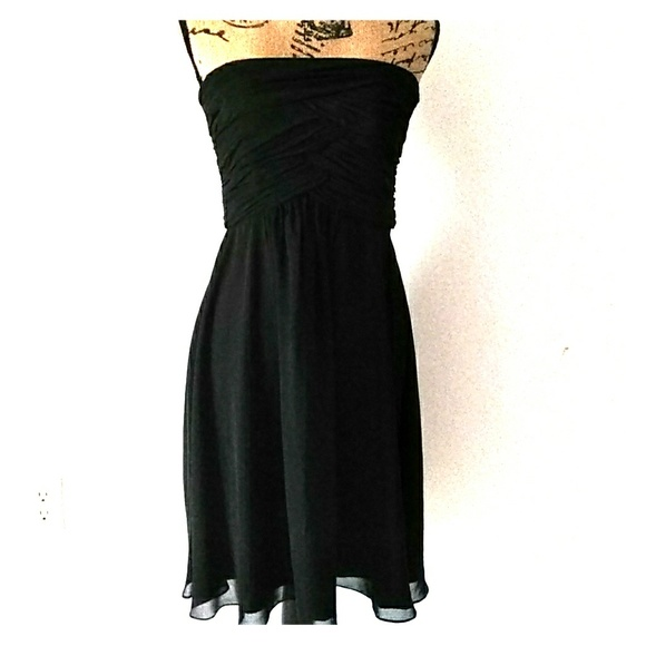 White House Black Market Dresses Flowing Black Calf Length Dress